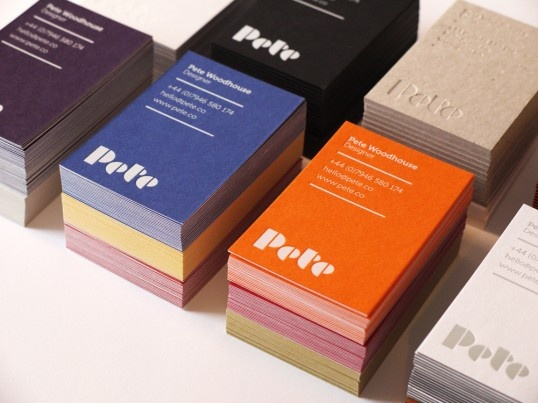 """The business cards were printed on a variety of leftover boards to show Pete as a flexible, versatile designer who cares about the environment.    Printing techniques include foil blocking on a variety of duplexed or triplex colorplan papers. Rubber stamping on the envelope and one colour litho printed letterheads."""