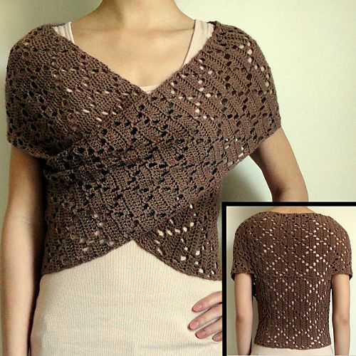 Ravelry: Diamond Eyelet Wrap Sweater pattern by Rachel Choi