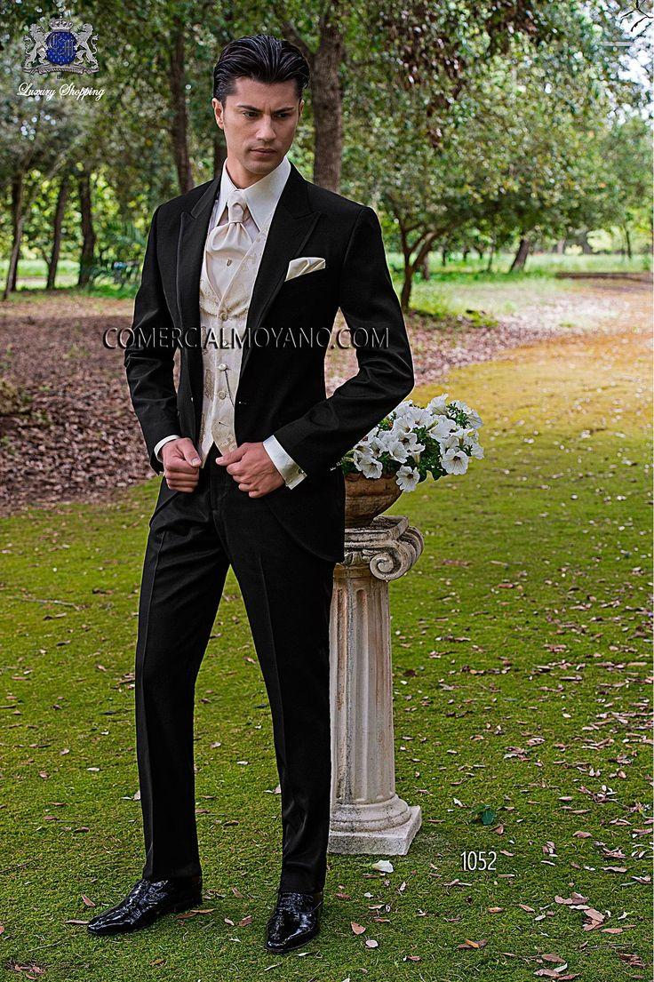 Traje de novio italiano a medida semilevita, en tejido new performance cuadrillé negro, modelo 1052 Ottavio Nuccio Gala colección Fashion .