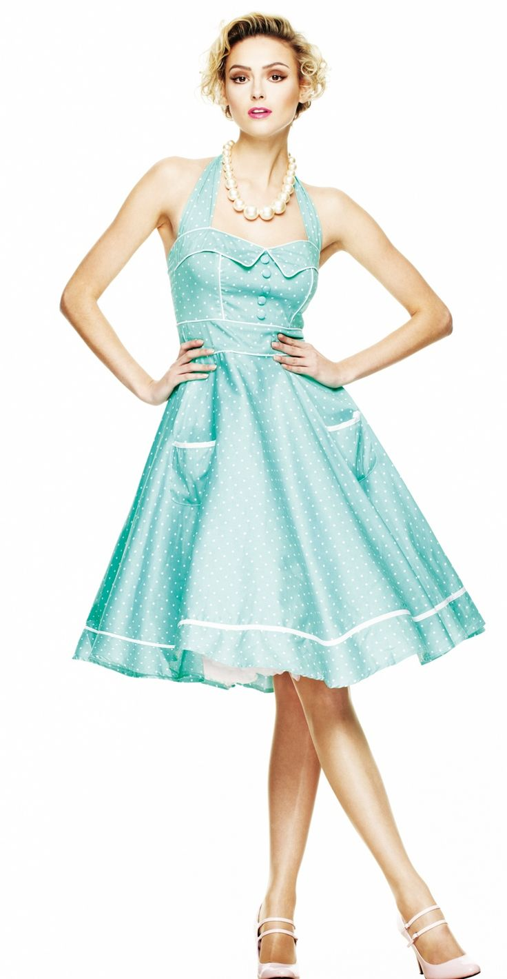 Hell Bunny presents this elegant green with white polka dots dress.