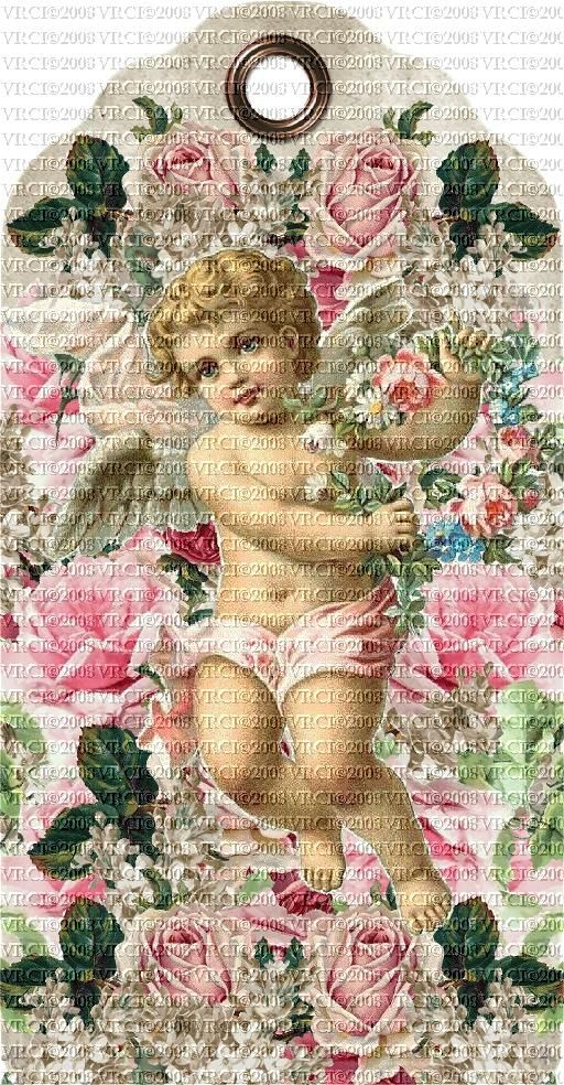 Very Victorian© Cherubs & Roses Pink Set Of 4 E-Tags