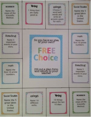 Free Choice Board-when a pupil finishes an activity they choose from the free choice board