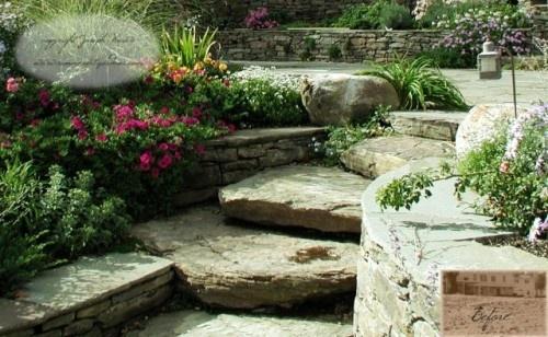 Garden Steps: Gardens Ideas, Gardensjo Weust, Rocks Wall, Gardens Design Ideas, Landscape Design, Natural Stones, Traditional Home, Outdoor Spaces, Patio Ideas