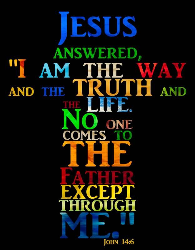 """Jesus answered, """"I am the way and the truth and the life. No one comes to the Father except through me."""" ~ John 14:6"""