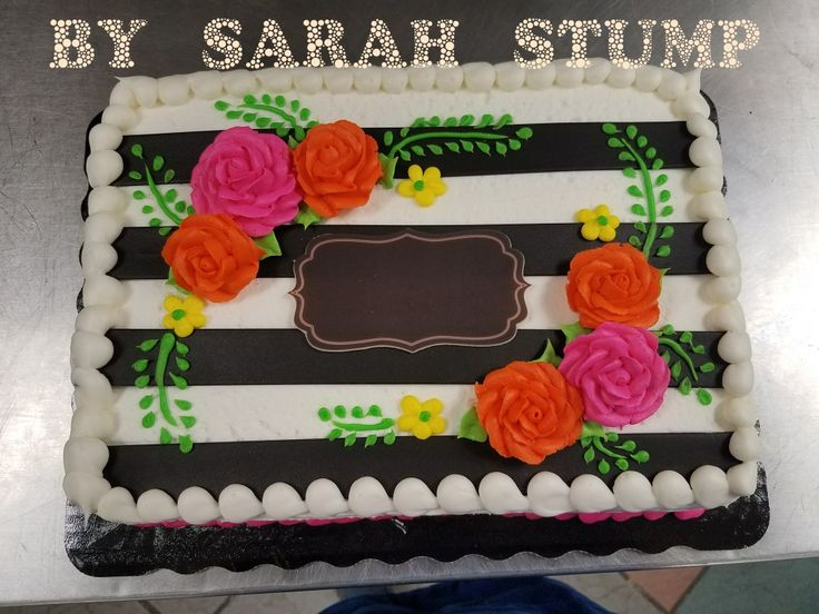 Black and white striped floral sheet cake - buttercream by Sarah Stump