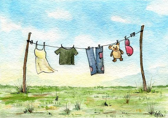 Clothesline Original Ink and Watercolor Painting  Line and