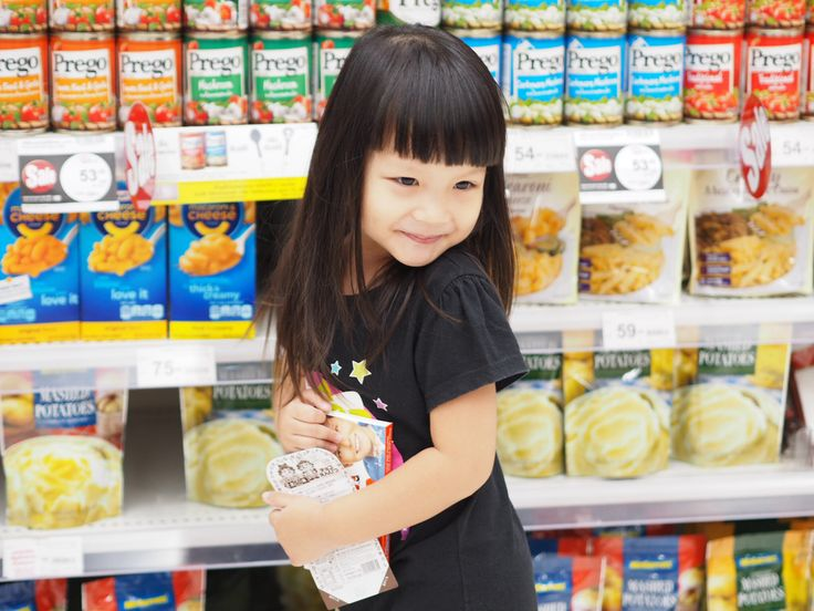 Cute pose at supermarket