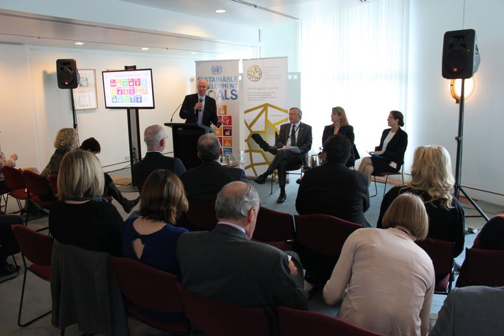 UNIC Canberra event focused on Sustainable Development Goals - our partners were ACFID, the head of which, Marc Purcell is pictured speaking. Director of UNIC is to his left. For more information about the Sustainable Development Goals: http://www.un.org/sustainabledevelopment/sustainable-development-goals/