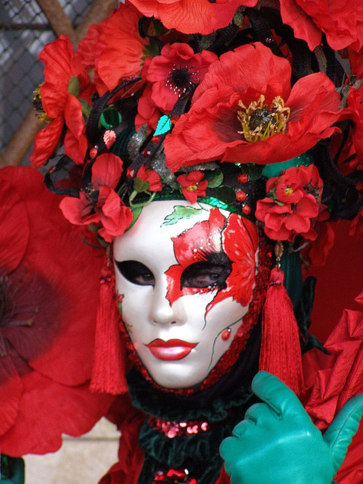 Red poppy lady. (Just in time for ANZAC Day in New Zealand and Australia). Venice Carnival 2015 by Lesley McGibbon