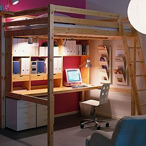 ikea loft bed with desk room ideas pinterest loft beds beds and loft. Black Bedroom Furniture Sets. Home Design Ideas