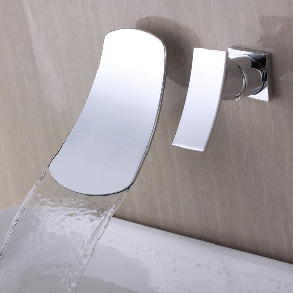 Chrome Waterfall Wall Mount Contemporary Stainless Steel Bathroom Sink Faucet T6015B