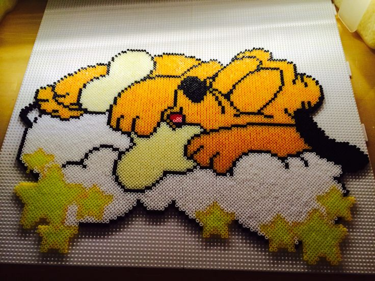 Sleeping Baby Pluto made of Hama Mini Beads - artist unknown