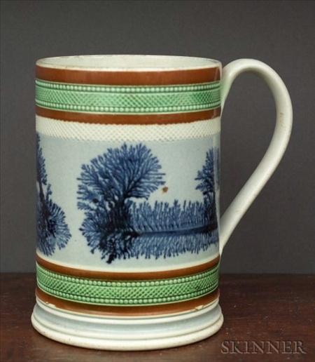 Seaweed motif mocha ware mug