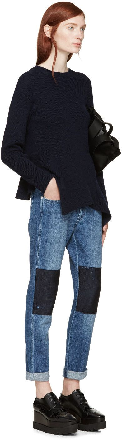 Stella McCartney Blue Sequined Knee Patch Jeans