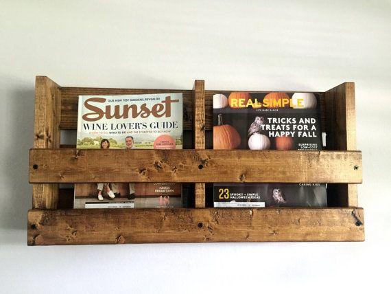 Rustic wood double wall mounted magazine rack by BlackIronworks