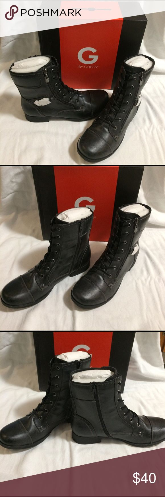 NWT Guess Bates Combat Boot Brand new in box. G by Guess black Bates Combat boots. I have a 9.5 and Size 10. Brand new with box and packaging in shoes.Faux leather upper in a lace up combat boot style with a round toe. Side zipper. Lightweight with 1 inch heel. Decorative buckle with the Guess logo on it. Very nice boots! G by Guess Shoes Ankle Boots & Booties