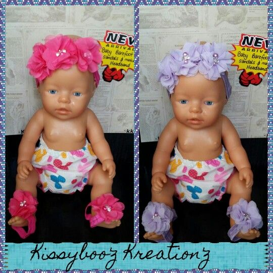 Baby barefoot sandals & matching headband find these and many more cute creations at Kissyboo'z Kreation'z on facebook