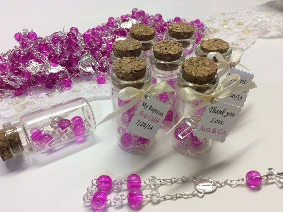 12 pcs Baptism favors mini glass bottles with by AVAandCOMPANY, $19.99