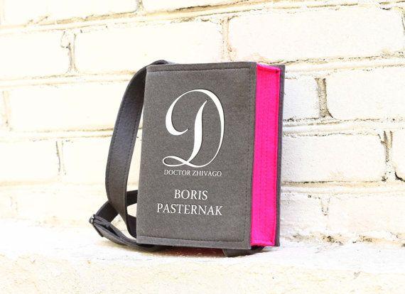 Book Bag Pasternak Grey And Pink Felt Purse by krukrustudio, $145.00