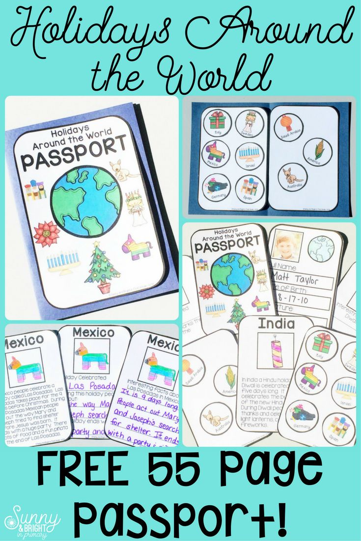 Great student passport for Holidays Around the World!  This is a FREE 55 page passport resource that is packed full of activities and great content!  Follow the link to a blog post packed full of links for your Holidays Around the World unit AND a free student passport!