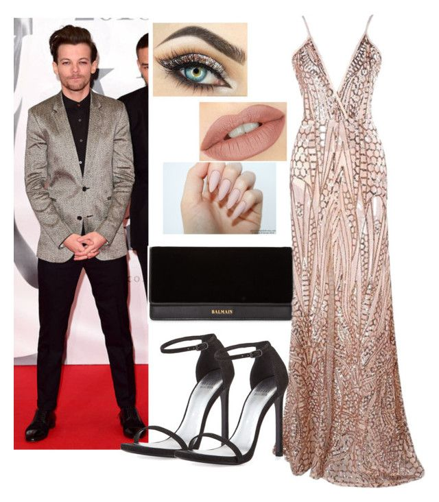 """""""Awards with Louis Tomlinson"""" by natalia-tommo ❤ liked on Polyvore featuring Balmain and Stuart Weitzman"""