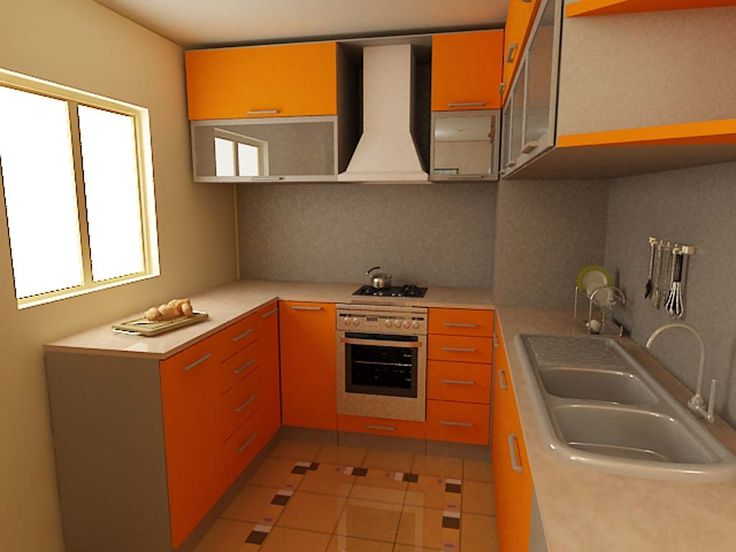 Stylish Orange Kitchen Designs For A Lighter Look : Ultra Small UShaped Kitchen Decoration with Orange Colored Kitchen Cabinets and Marble K...