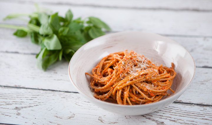 Red Pesto with Wholemeal Spaghetti - Recipe from Everyday Gourmet with Justine Schofield