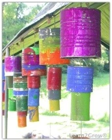 DIY wind chimes - Tacky Yard Art... Recycle project for Earth Day!!!