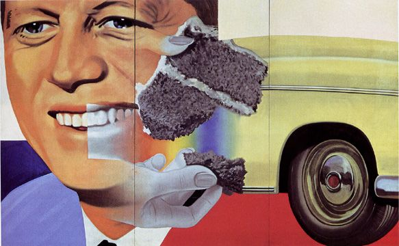"""""""President Elect,"""" by James Rosenquist, oil on masonite, 7 feet 5 3/4 inches by 12 feet, 1960-1, 1964, Centre Georges Pompidou, Musée National d'Art Moderne/Centre de Création Indust"""