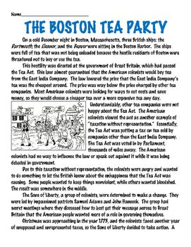 the boston tea party reading comprehension article american revolution u s history 2 the. Black Bedroom Furniture Sets. Home Design Ideas