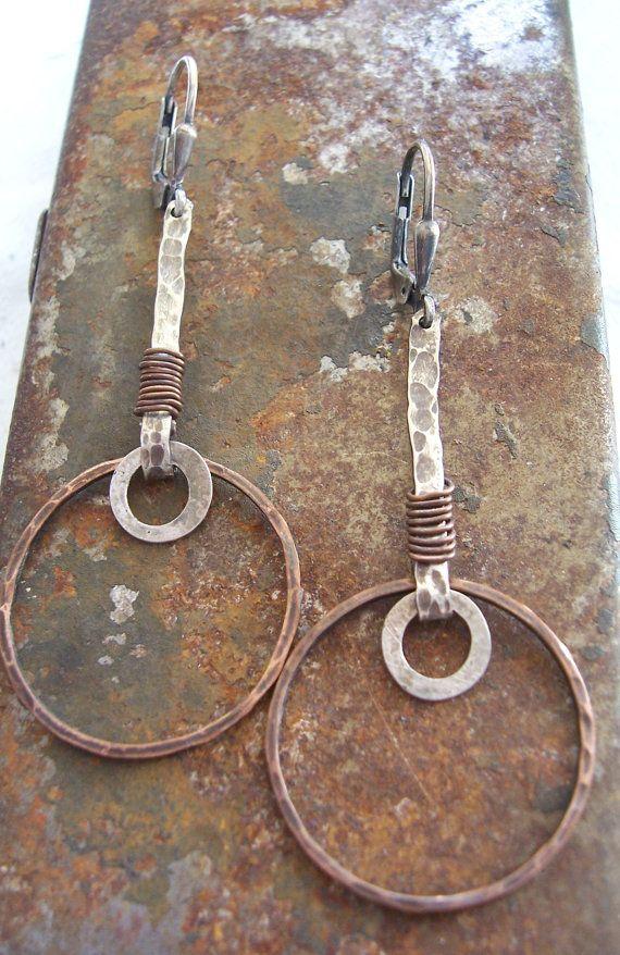 Metalwork Earrings, Mixed metal earrings, Rustic Organic Textured Earrings, Tribal Jewelry, Dangle Earrings.