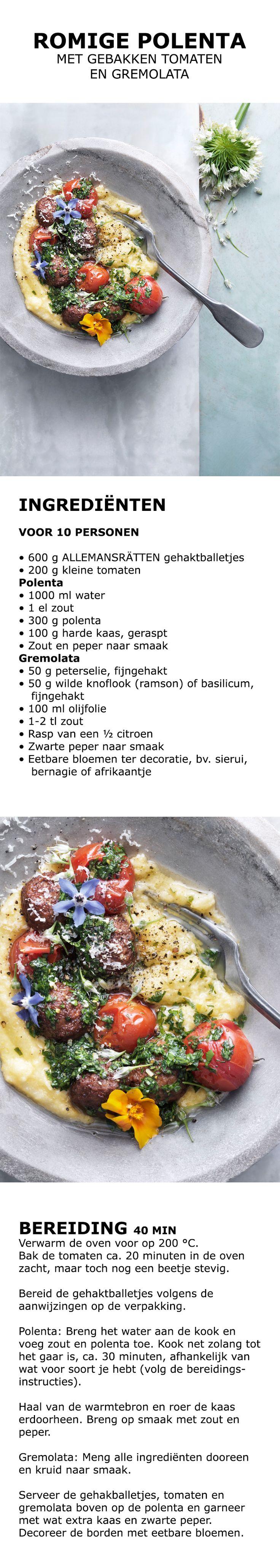 Inspiratie voor de feestdagen - Romige polenta met gebakken tomaten en gremolata   IKEA IKEAnederland koken keuken recept herfst winter kerst diner lunch witte wijn citroen eetbare bloemen