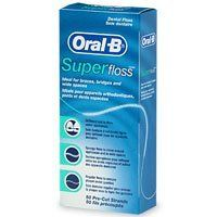 Oral-B Superfloss Mint Dental Floss 50 ct (300410825706) Allows you to floss under appliances Cleans around appliances and between wide spaces Removes plaque under the gumline Supplies you with pre-measured strands Ideal for cleaning braces, bridges and wide gaps between teeth
