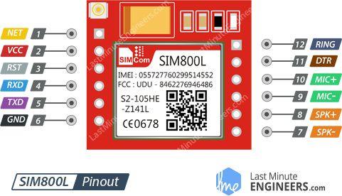 SIM800L GSM Module Pinout   sim800   Arduino