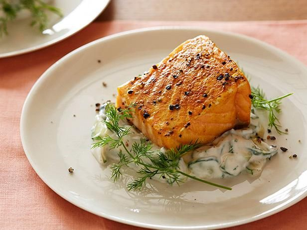 Ideal for entertaining guests or for a dressed-up dinner with your family, this Roasted Salmon Dinner is rounded out with a cucumber-dill salad.  #RecipeOfTheDayFood Network, Fish Seafood, Slow Roasted Salmon, Cucumber Dil Salad, Maine Dishes, Salad Recipe, Cucumber Salad, Salmon Dinner, Cucumber Dill Salad