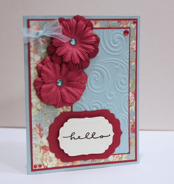 Hello Card - Thinking of You Card - Handmade Card - Blue and Red - Feminine - woman, women, girl, friend