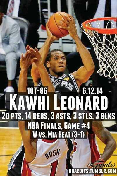 SPURS KAWHI LEONARD GAME 4 NBA FINALS STATS VS THE HEAT
