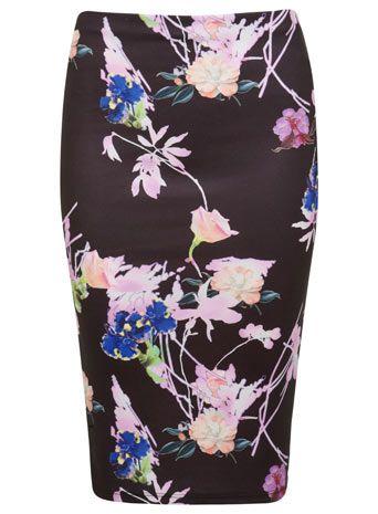 Black Floral Pencil Skirt