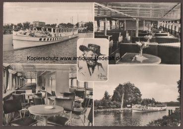 AK Berlin DDR Weiße Flotte MS Heinrich Zille Mehrbildkarte 1969 Innenräume