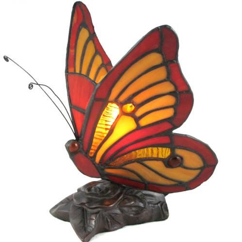Marvelous Very Pretty Red And Yellow Stained Glass Butterfly Sitting On Brushed  Bronze Base.