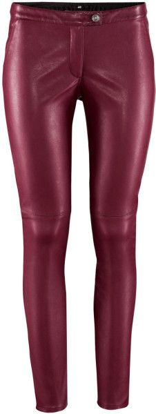 H&M Oxblood Leather Trousers