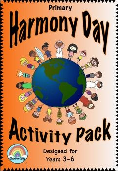 "Pack for Years 3 - 6 Harmony Day coloured display poster · ­ Can you find someone who…Icebreaker Game · ­ ""Harmony Day is…"" BLM · ­ Harmony Day Poem BLM · ­ Multicultural hearts BLM · ­ ""Definition of Harmony"" BLM · ­ Recipe for Harmony Writing Task · ­ #HarmonyDay – social media post · ­ ""Essential Elements for Harmony"" Math code cracker · ­ Harmony Day Exit Ticket ~ Rainbow Sky Creations ~"