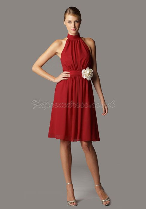 Red short bridesmaid dress with white flower