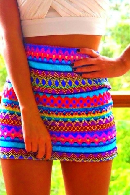 Day glo tribal!: Minis Skirts, Bright Colour, Bright Color, Summer Skirts, Pencil Skirts, Teens Fashion, Tribal Skirts, Neon Color, Tribal Prints