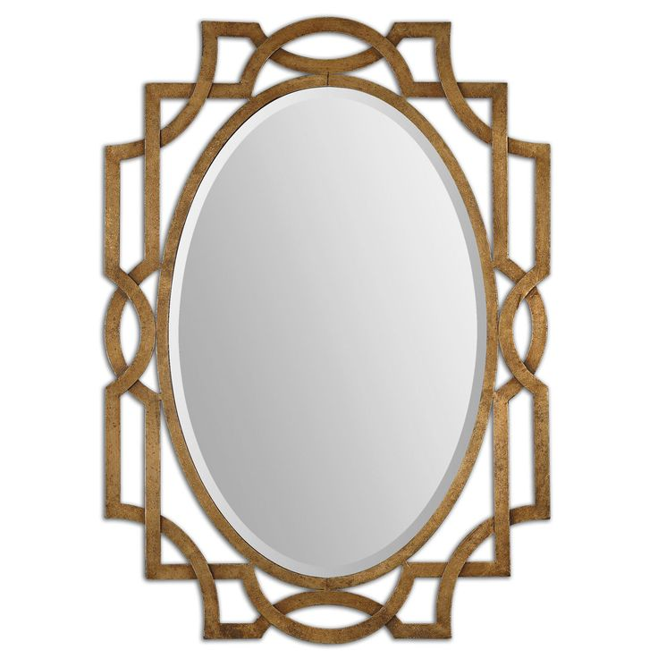 $292 Margutta Forged Metal With Antiqued Gold Leaf Oval Mirror Uttermost Oval Mirrors Home Deco