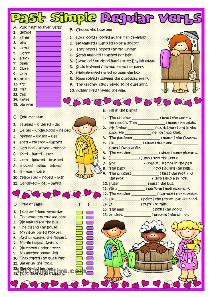 Positive statements in the Simple Past Regular verbs