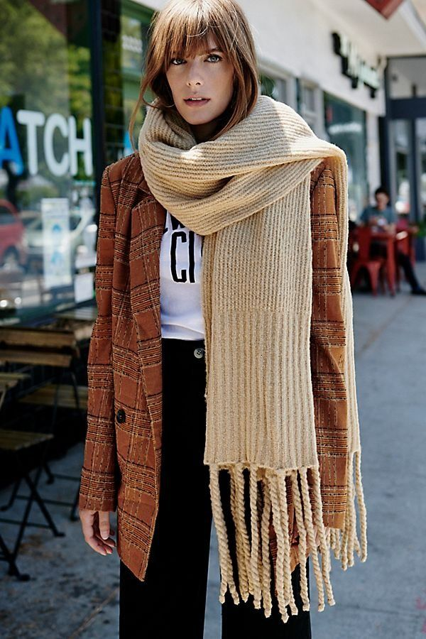 Urban Outfitters Red Brown Black Wide Soft Scarf Fringed Check Checked RRP £18