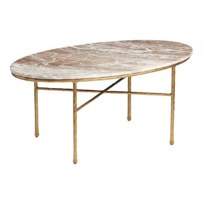 Oval Brown Marble Meera Coffee Table In 2020 Oval Marble Coffee