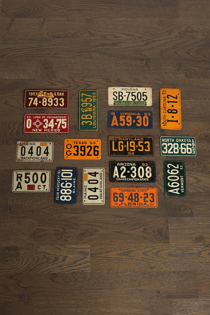 Funky Vintage Motorcycle License Plates Pattern - Classic Cars Ideas ...