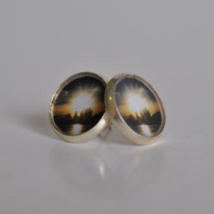 Silver Sunset Stud Earrings by WildSparrowDesign on Etsy https://www.etsy.com/listing/225638713/silver-sunset-stud-earrings